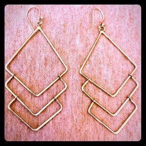 Vintage Sterling Silver Geometric Dangle Earrings